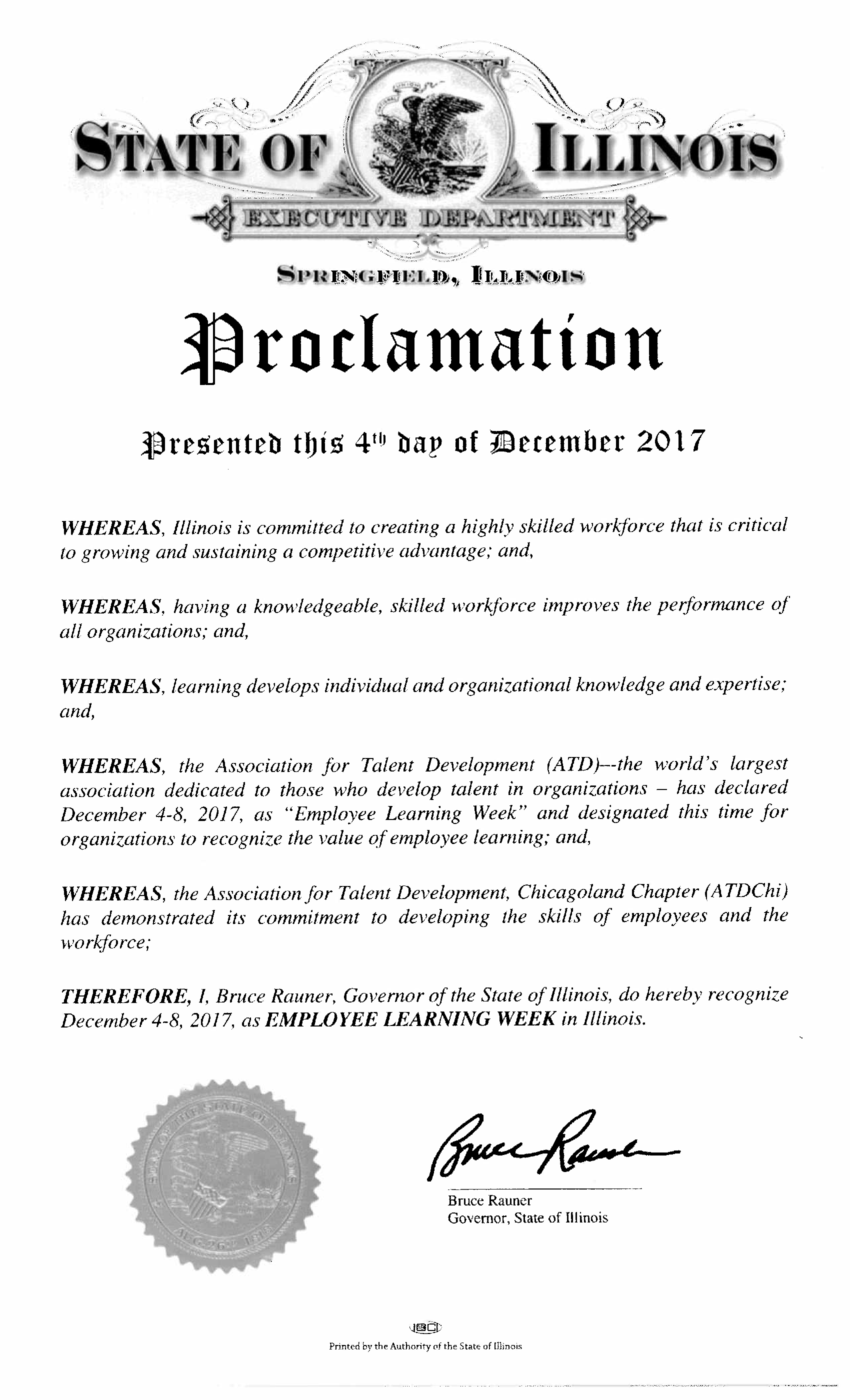 State of Illinois Proclamation of 2017 Employee Learning Week